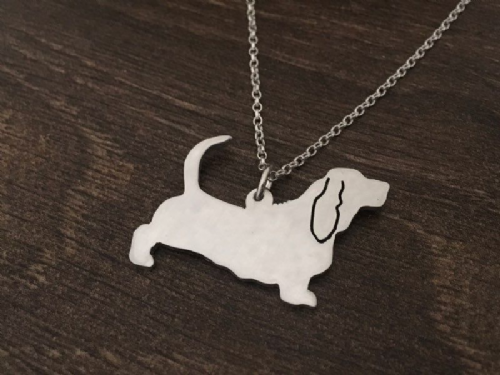 Basset Hound  dog pendant sterling silver handmade by saw piercing